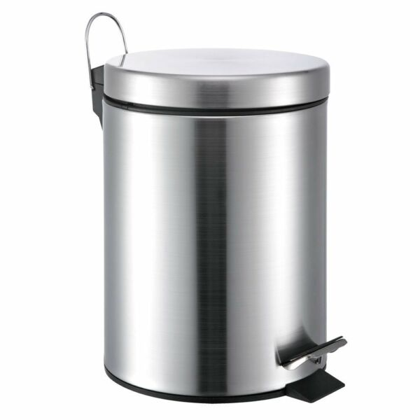 5 Liter1.3 Gallon Small Round Stainless Steel Step Trash Can (SilverII)