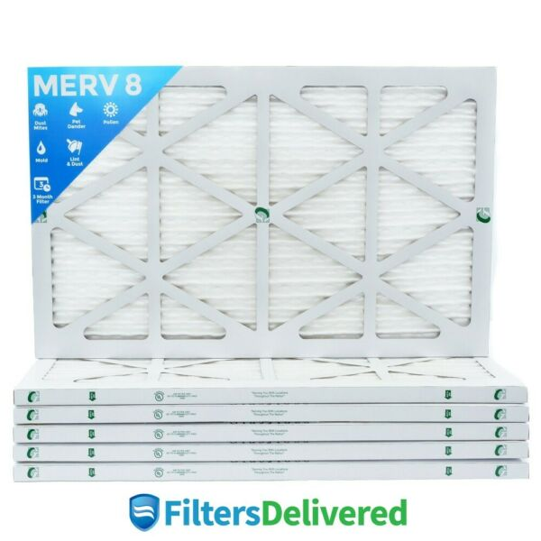 16x25x1 MERV 8 Pleated AC Furnace Air Filters. 6 Pack