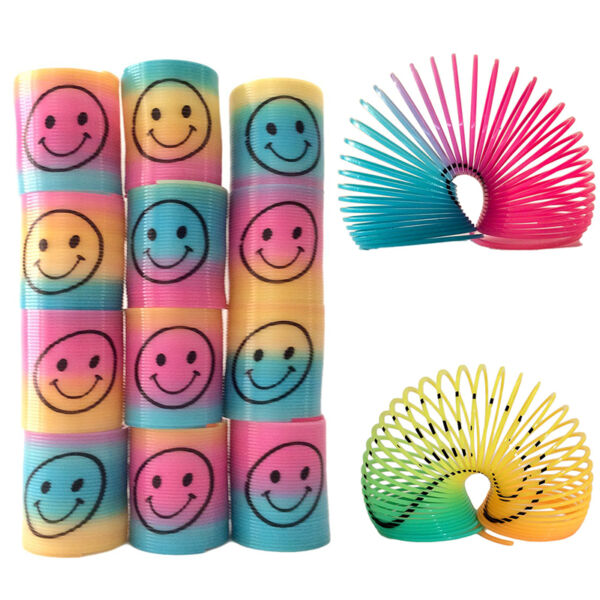 12Pcs Slinky Smiley Face Springs Rainbow Smile Face Spring Party Bag Fillers Toy