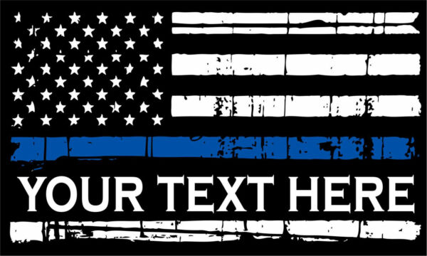 Thin Blue Line Decal Tattered Flag YOUR CUSTOM TEXT Decal Various Sizes $6.99