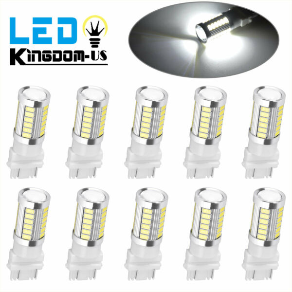 10x Pure White 3157 3156 5630 33-SMD RV Camper Trailer LED Light Bulbs 6000K