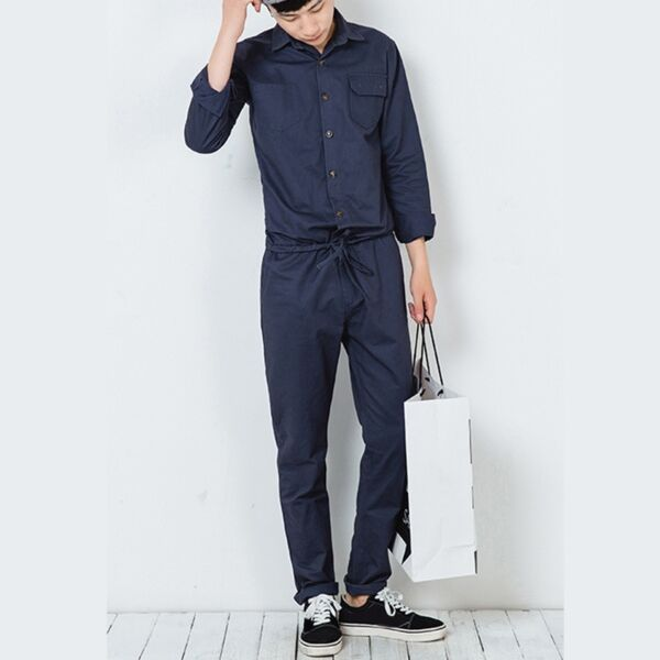Men Long Sleeve Tie Waist Playsuit Jumpsuit Boilersuit New Pants Workwear Casual