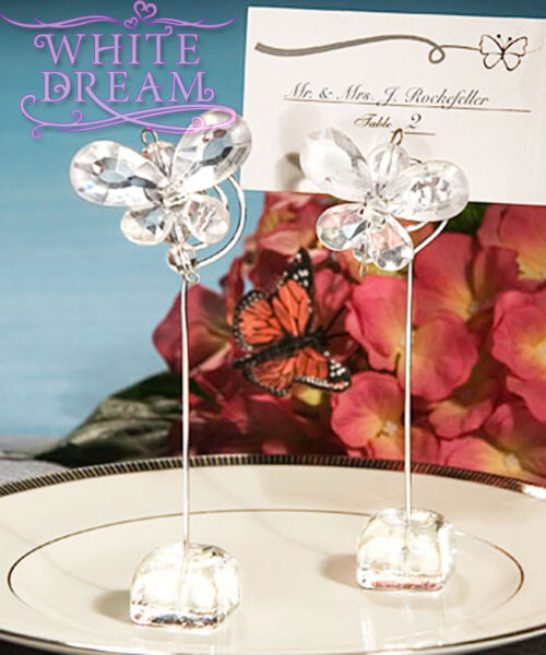 Clear - Butterfly Crystal - Place Card Holder Wedding Favours  Table Decoration