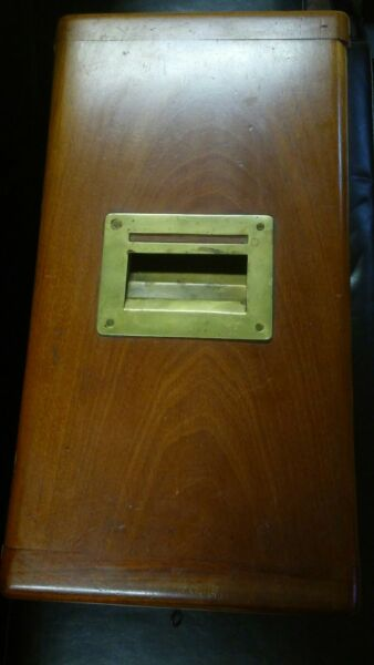 Antique wooden cash and box safe drawers lock and key (ESTATE FIND)