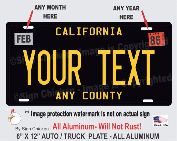 California Black YOUR TEXT Personalized Custom Aluminum License Plate AUTO $16.99