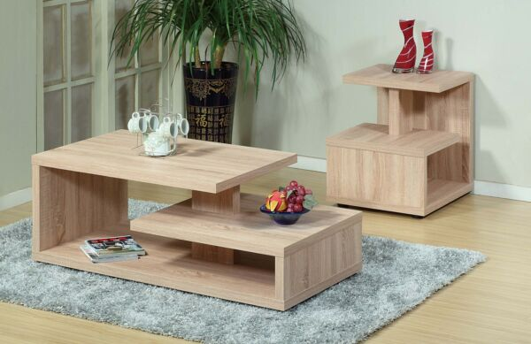 Top Modern Coffee Table and End Table 2PCs Set Weathered White Furniture