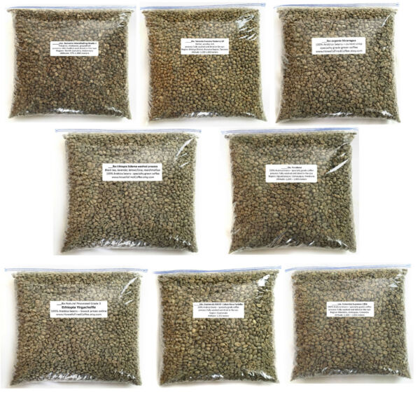 11 lbs Green Coffee Bean Sample Pack - 11 one-pound coffee samples