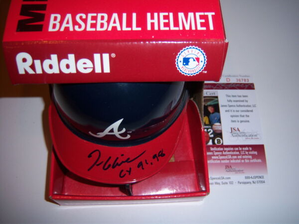 TOM GLAVINE ATLANTA BRAVES CY 9198 JSACOA SIGNED MINI HELMET
