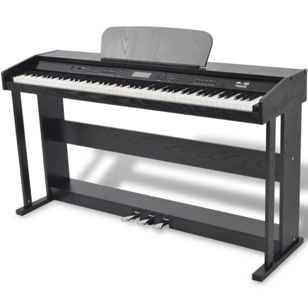 88-Key Portable Digital Piano Keyboard with Stand+Adapter+3-Pedal Board Black