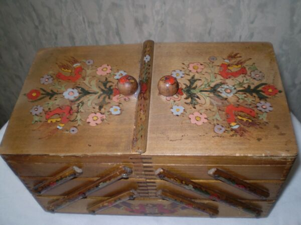 VINTAGE-wooden-box-accordion sewing-materials-PICTURE FLOWERS