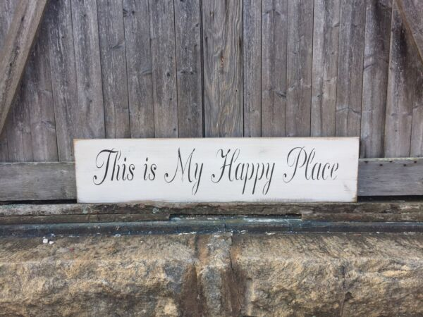Large Rustic Wood Sign quot;This is my Happy Placequot; 3 1 2 Feet Long Home Sweet