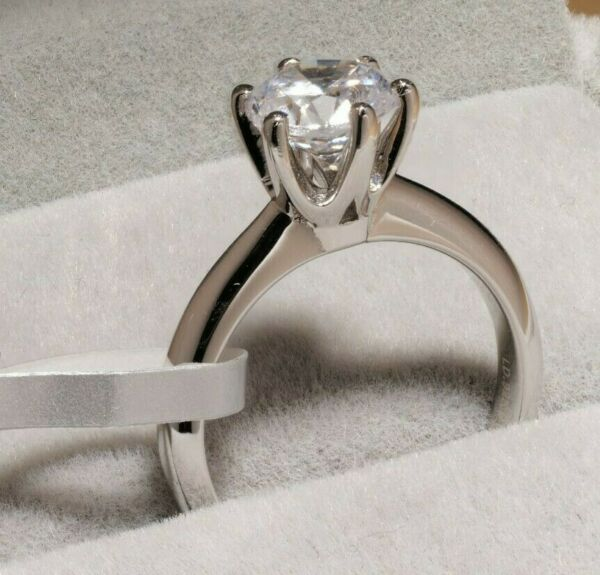 Solitaire Diamond Engagement Ring 1ct 14k White Gold Toned Round Cut Size 10