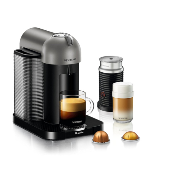 Breville Nespresso Vertuo Black Espresso Machine & Aeroccino Milk Frother Bundle