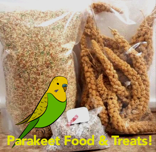 Parakeet Food & Treat Bundle! 5 lbs Feed 8 oz Millet wCalcium & Mineral Bar!