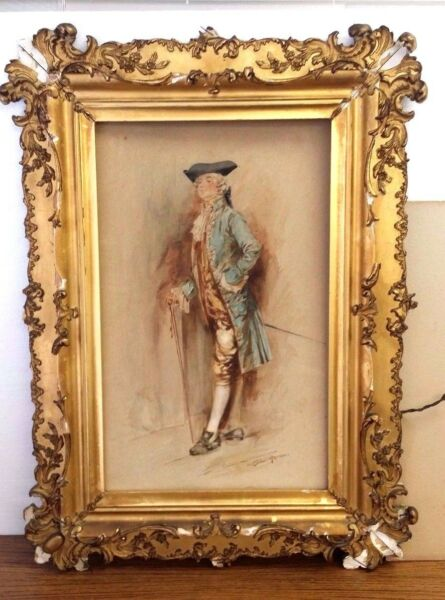 ANTIQUE WATERCOLOR PORTRAIT FINE QUALITY ARTIST LEON MORAN 10X16 GILT FRAME