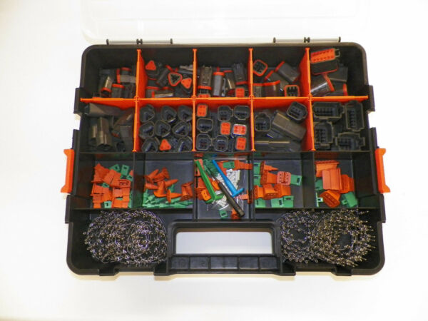518 PC BLACK DEUTSCH DT CONNECTOR KIT - STAMPED TERMINALS + REMOVAL TOOLS,
