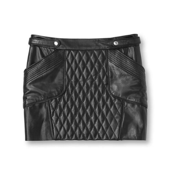 Rebecca Minkoff NWT Leather Quilted Mini Skirt $498 MSRP O XS Moto All Saints