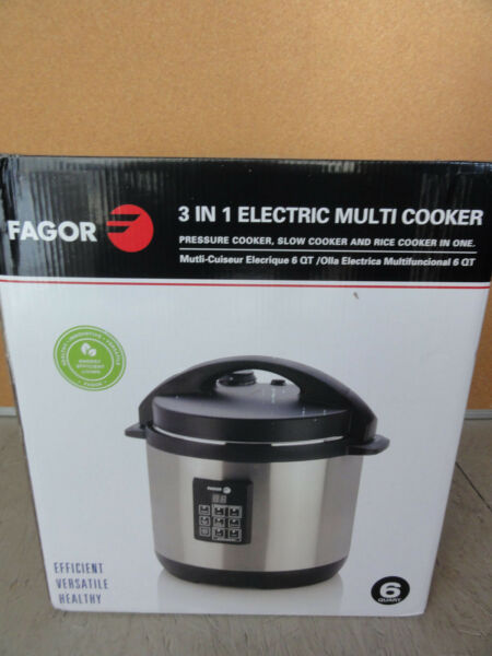 Fagor 6-Quart 3-in-1 Electric Multi-Cooker Small Kitchen Appliance New