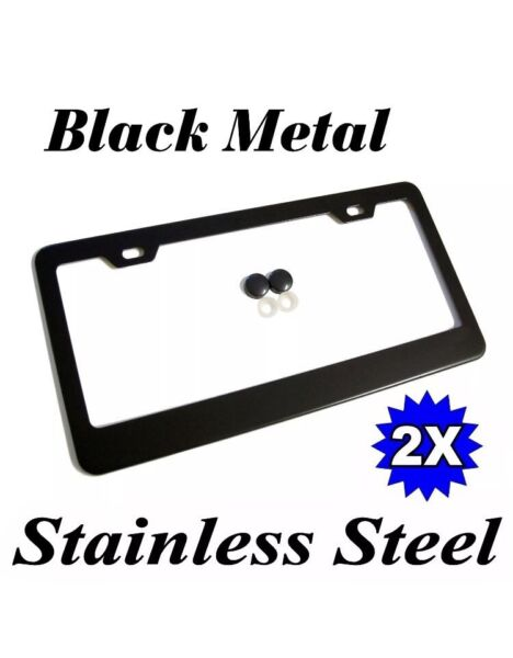 2PCS BLACK STAINLESS STEEL METAL LICENSE PLATE FRAME TAG COVER SCREW CAPSScrews