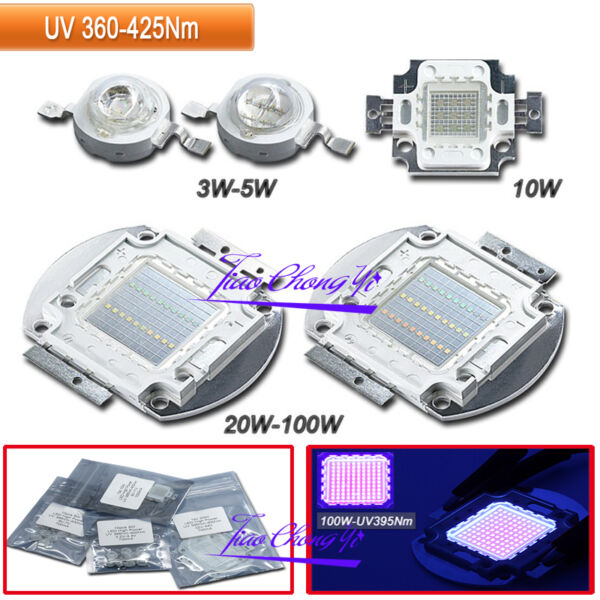 3W 10W 50W 100W 365NM 380NM 395NM UV Ultra Violet High power LED for Aquarium $95.04