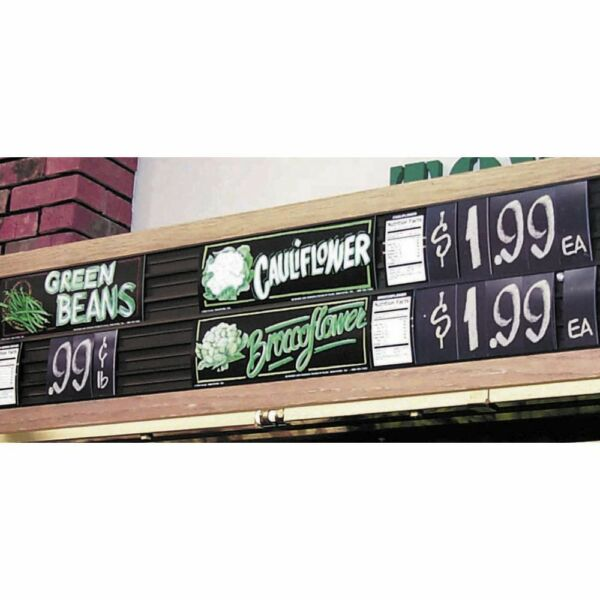 Six Track Wood Framed Produce Signs have 2