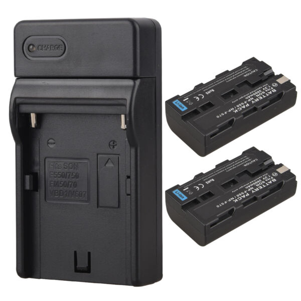 2x 2600mAh NP-F550 NP-F570 Batteries + Charger For Sony NP-F550 NP-F570 Camera