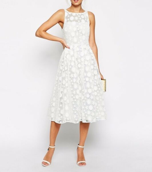 BRANDED Premium Midi Skater Evening Dress with Daisy Appliques White UK 4EU 32