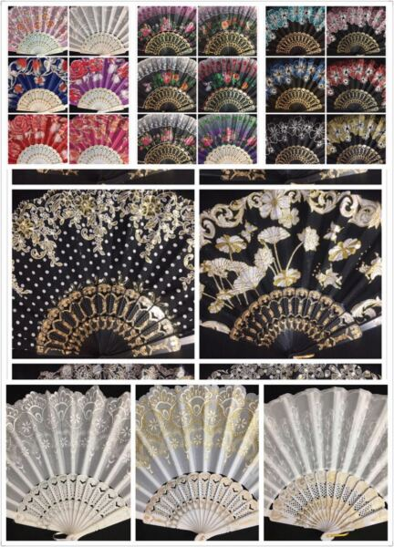 12pc Wholesale Lot Wedding Party Favor Gift Spanish Party Dance Summer Hand Fan