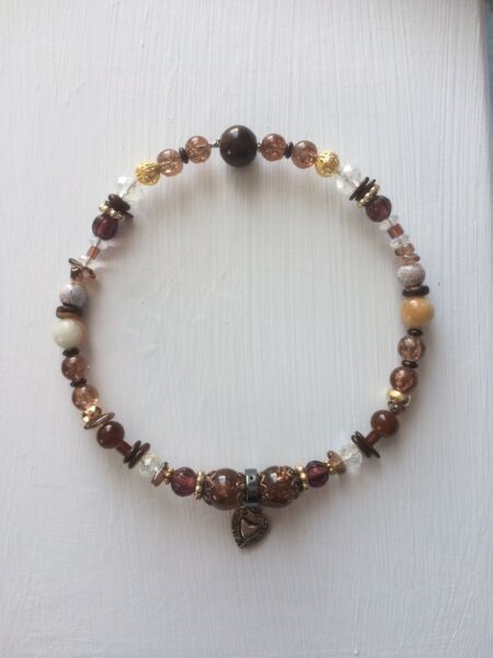 Pet Jewelry Luxury Dog and Cat Necklaces made of Brown and Gold Beads $21.00