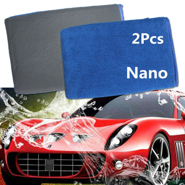 2Pcs Car Nano Wash Clay Mitt Cloth Care Cleaning Towel Microfiber Sponge Gloves