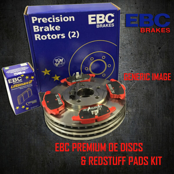 NEW EBC 365mm FRONT BRAKE DISCS AND REDSTUFF PADS KIT OE QUALITY - PD02KF481