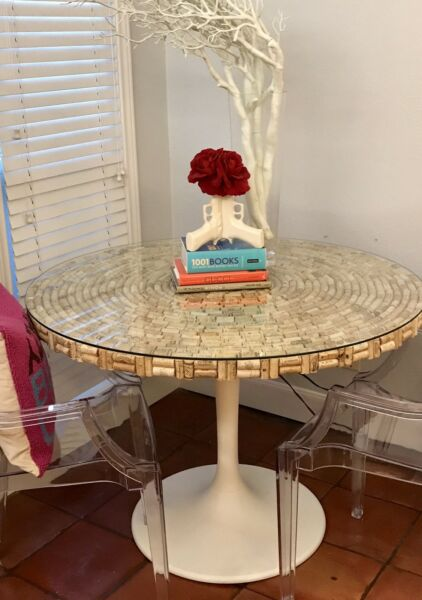 HANDMADE WINE CORK Covered Dining Table ONE OF A KIND!