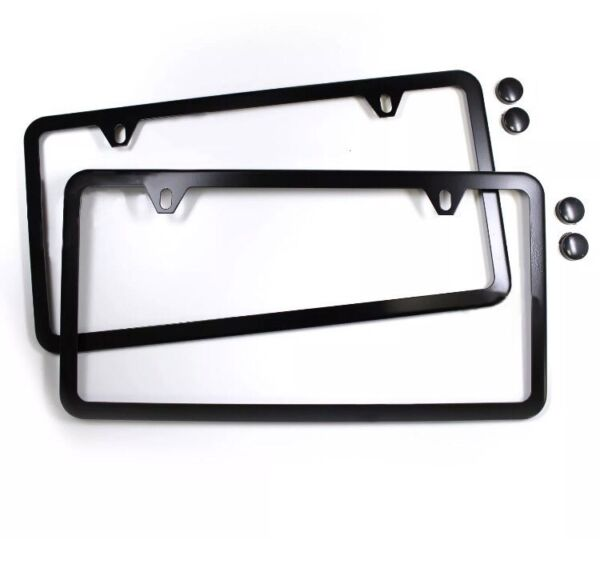 2PCS SLIM BLACK STAINLESS STEEL LICENSE PLATE FRAME SCREW CAPS SLIM 2 HOLE BF 2