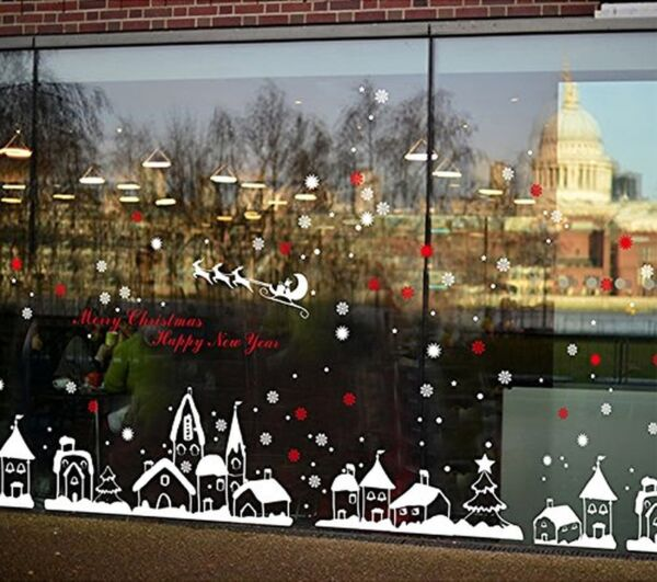 TOTOMO Christmas Town Window Decal Sticker Wall Décor Art White $19.37