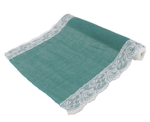 Steel Blue Hemp Burlap Table Runner with Lace 16