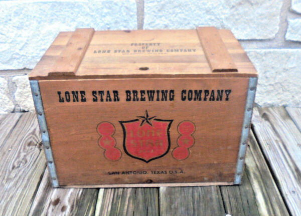 Vintage Property of Lone Star Brewing Beer Wooden Wood Crate Box Man Cave Texas