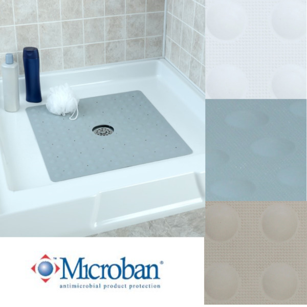 Large Non Slip Rubber Shower Mat with Microban: SlipX Solutions Square Stall Mat $18.49
