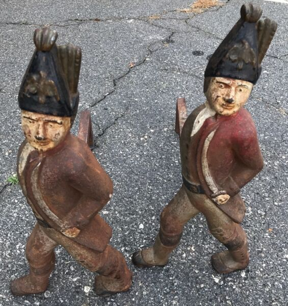 PAIR OF ANTIQUE CAST IRON ANDIRONS HESSIAN SOLDIERS FIREPLACE LOG HOLDERS