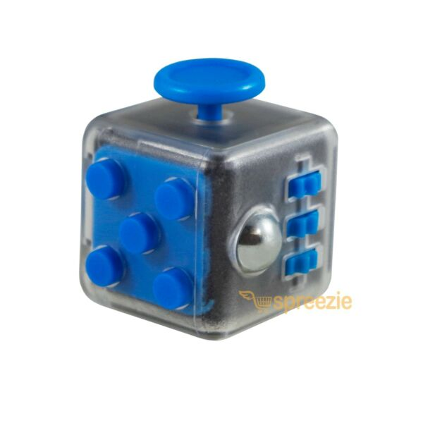 CLEAR Blue Fidget Toy Cube Anxiety Stress Relief Focus Attention Block Square