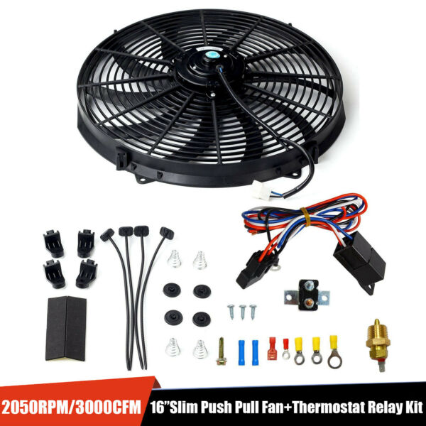 16quot;ELECTRIC RADIATOR FAN HIGH 3000 CFM THERMOSTAT WIRING SWITCH RELAY KIT BLACK
