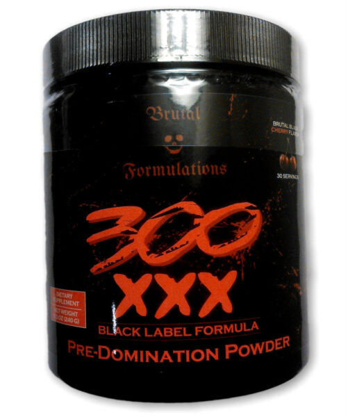 Brutal Formulations 300XXX Black Label PreWorkout Insane Energy+Pump *CLUMPED*