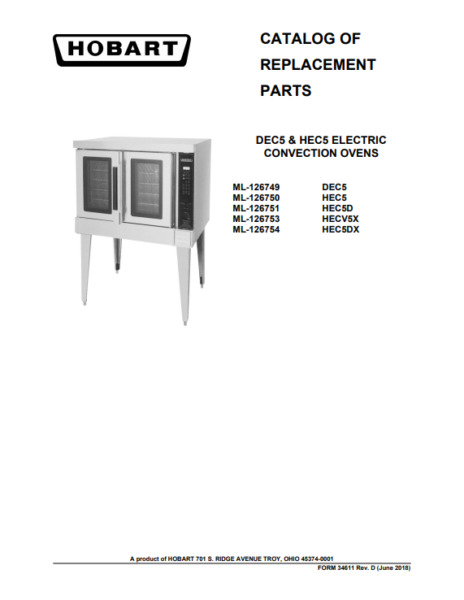 Hobart PDF Catalog of Replacement Parts for DEC5 HEC5 Electric Convection Ovens