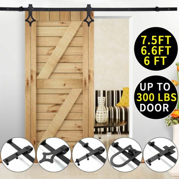 Black Carbon Steel Sliding Barn Door Hardware Track Rail Kit Wall Mount