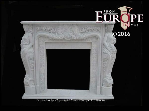 BEAUTIFUL HAND CARVED VICTORIAN STYLE SOLID MARBLE FIREPLACE MANTEL - LST30