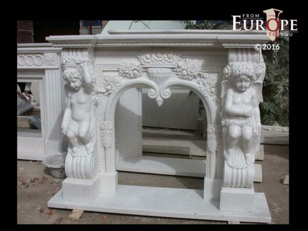 BEAUTIFUL HAND CARVED VICTORIAN STYLE SOLID MARBLE FIREPLACE MANTEL - LST22