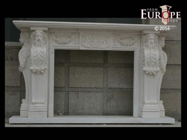 BEAUTIFUL HAND CARVED VICTORIAN STYLE SOLID MARBLE FIREPLACE MANTEL - LST34