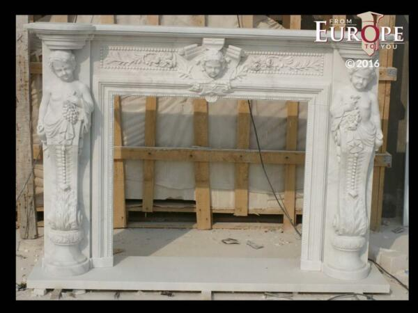 BEAUTIFUL HAND CARVED VICTORIAN STYLE SOLID MARBLE FIREPLACE MANTEL - LST31