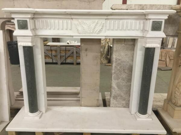 BEAUTIFUL HAND CARVED SOLID MARBLE FIREPLACE MANTEL  - JD802