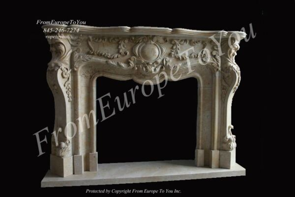 GREAT HAND CARVED MARBLE FIREPLACE MANTLE - MBF103