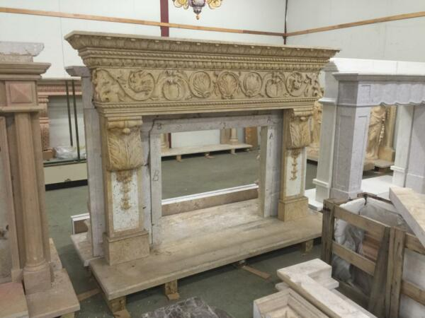BEAUTIFUL HAND CARVED SOLID MARBLE FIREPLACE MANTEL  - JD806